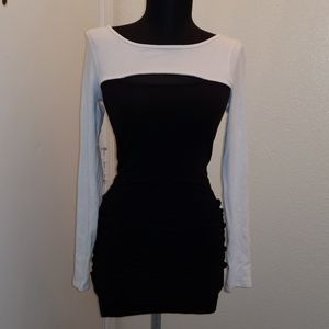 Guess Long Sleeve Fitted Black and white Dress